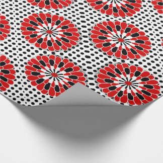 Contemporary Red Black and White Flowers and Dots Wrapping Paper