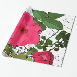 Contemporary Red Rose Illustration Wrapping Paper