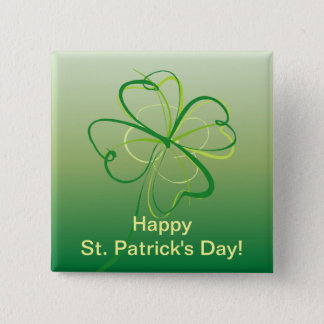Contemporary Shamrock 2 Inch Square Button