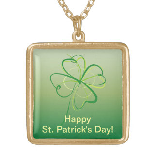 Contemporary Shamrock Gold Plated Necklace