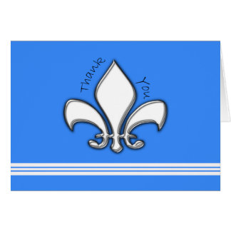 Contemporary Silver Fleur de Lis Thank You Card