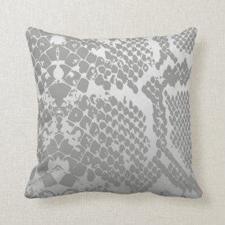 Contemporary Silver Pastel Snake Python Skin Throw Pillow