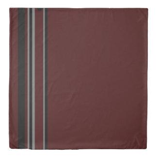 Contemporary Strip Duvet Cover-Burandy BLK strip 1 Duvet Cover