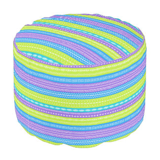 Contemporary striped design with sewing patterns pouf
