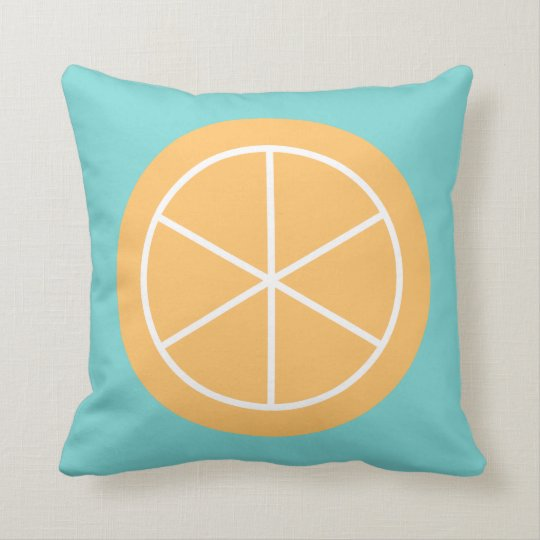 Contemporary Summer Citrus / Teal / Orange Florida Throw Pillow