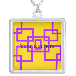 Contemporary violet squares on yellow custom jewelry