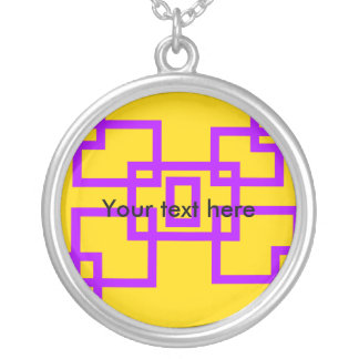 Contemporary violet squares on yellow pendants