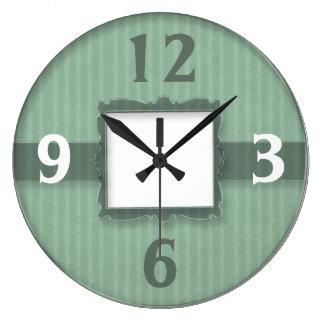 Contemporary  Wall Clock::Green Stripes