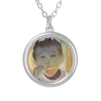 """Contemporary Watercolor Painting """"Orange Popsicle"""" Round Pendant Necklace"""