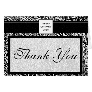 Contemporary Waves in Black Logo Thank You Card