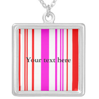 Contemporary white red and pink stripes personalized necklace