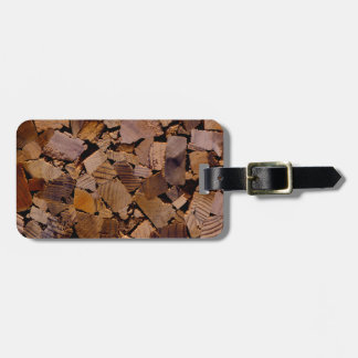 Contemporary wood chip design luggage tag
