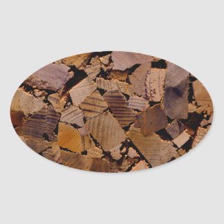 Contemporary wood chip design oval sticker