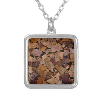 Contemporary wood chip design silver plated necklace