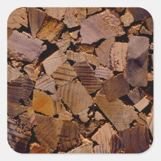 Contemporary wood chip design square sticker