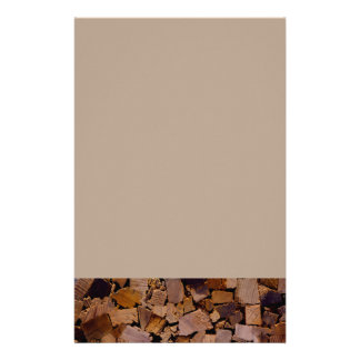 Contemporary wood chip design stationery