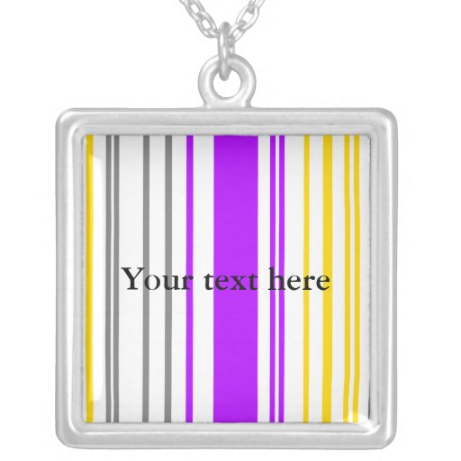 Contemporary yellow violet and white stripes pendant
