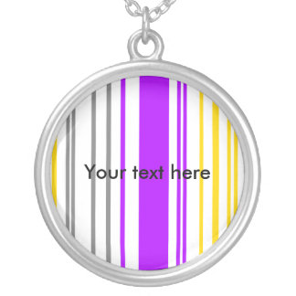 Contemporary yellow violet and white stripes pendants