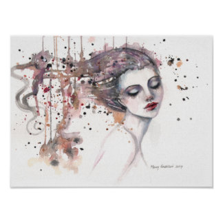 Content Fantasy Watercolor Art Woman 12 x 16 Poster