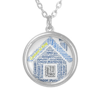content-is-king word-cloud Social Media Text Faceb Round Pendant Necklace