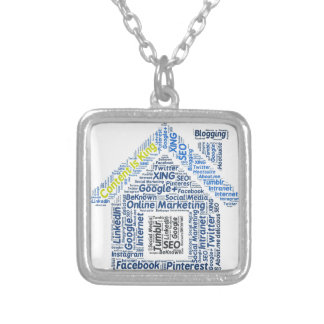 content-is-king word-cloud Social Media Text Faceb Square Pendant Necklace