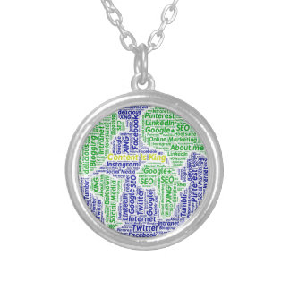 content-is-king word-cloud Social Media Text Silver Plated Necklace