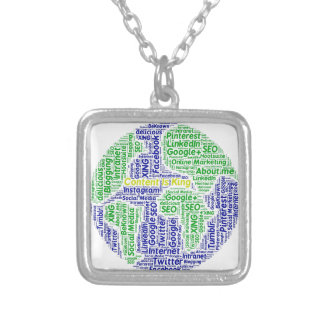 content-is-king word-cloud Social Media Text Square Pendant Necklace