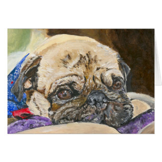 Content Pug art Greeting Card
