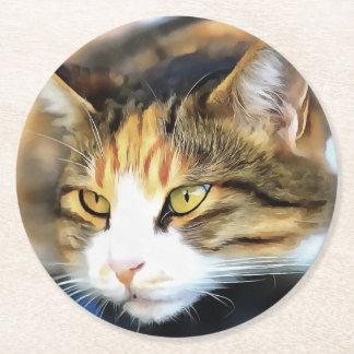 Contented Cat Round Paper Coaster