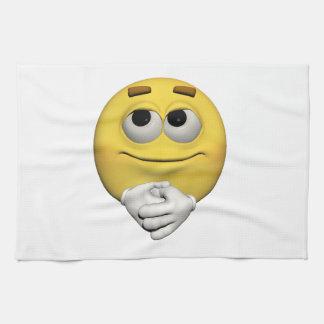Contentment emoticon kitchen towel