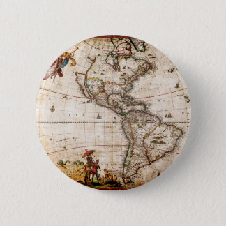 Continent of America Old Map 2 Inch Round Button