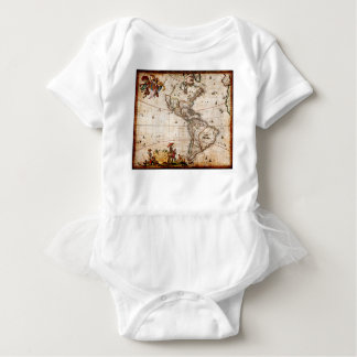 Continent of America Old Map Baby Bodysuit