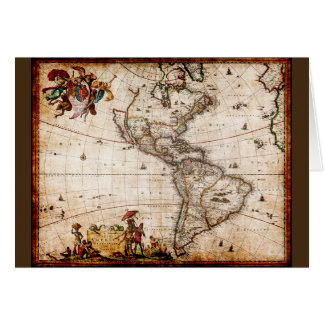 Continent of America Old Map Card