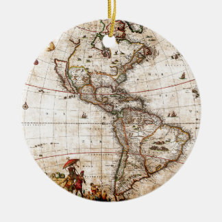 Continent of America Old Map Ceramic Ornament