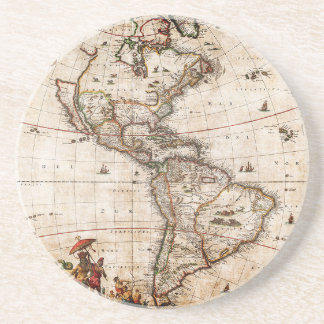 Continent of America Old Map Coaster