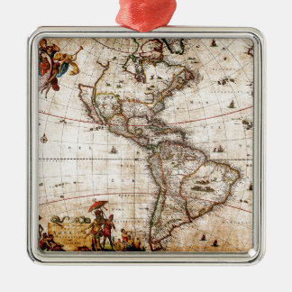 Continent of America Old Map Metal Ornament
