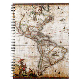 Continent of America Old Map Notebook