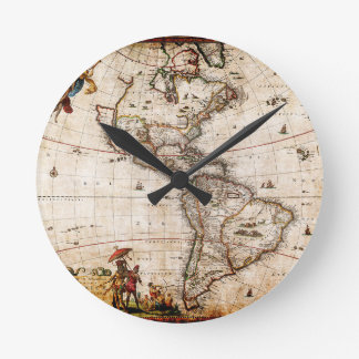 Continent of America Old Map Round Clock