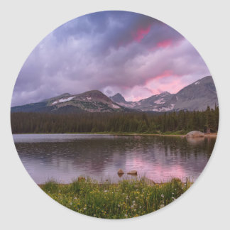 Continental Divide Stormy Rainy Sunset Sky Classic Round Sticker
