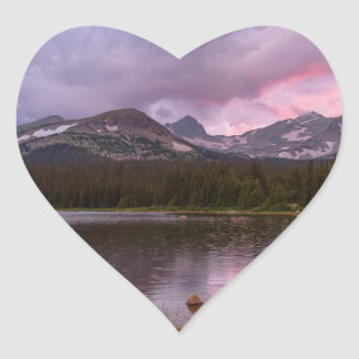 Continental Divide Stormy Rainy Sunset Sky Heart Sticker