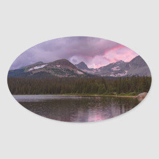 Continental Divide Stormy Rainy Sunset Sky Oval Sticker
