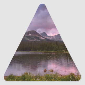 Continental Divide Stormy Rainy Sunset Sky Triangle Sticker