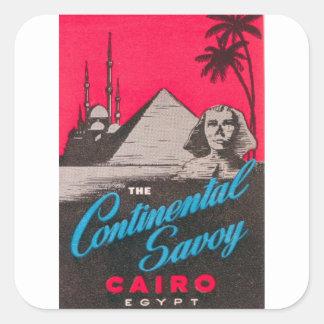 Continental Savoy Cairo Egypt Square Sticker