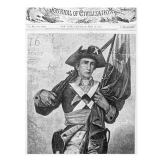 Continental Soldier holding a musket flag Postcard