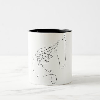 Continuous Line Optical Illusion of a Hand Drawing Two-Tone Coffee Mug