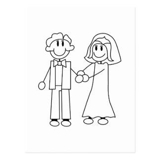 Contour de jeunes mariés carte postale
