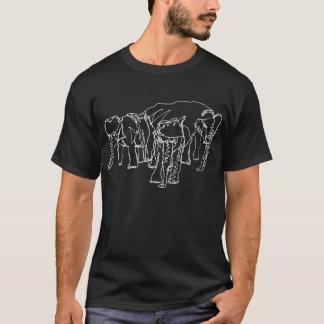 Contour Elephants on Dark Color T-Shirt
