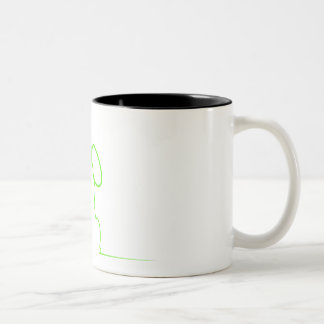 Contour of a hare light gre Two-Tone coffee mug