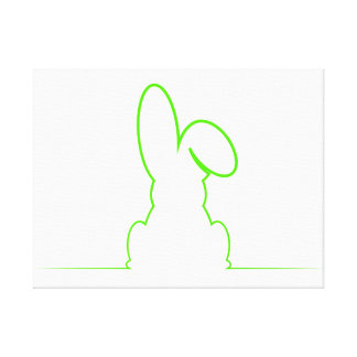 Contour of a hare light green canvas print