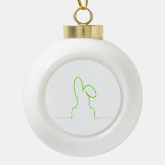 Contour of a hare light green ceramic ball christmas ornament